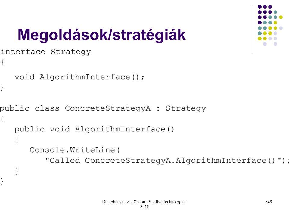 Megoldások/stratégiák Dr. Johanyák Zs. Csaba - Szoftvertechnológia - 2016 346