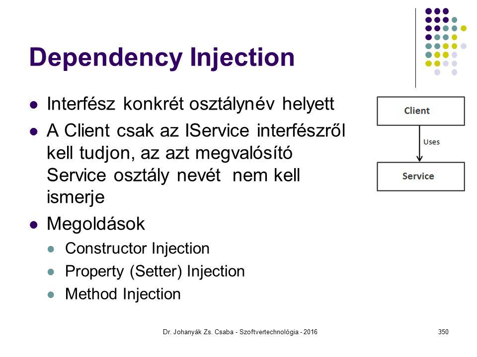 Dependency Injection Interfész konkrét osztálynév helyett A Client csak az IService interfészről kell tudjon, az azt megvalósító Service osztály nevét nem kell ismerje Megoldások Constructor Injection Property (Setter) Injection Method Injection Dr.