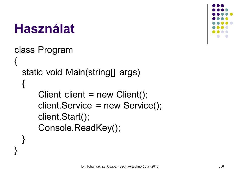 Használat class Program { static void Main(string[] args) { Client client = new Client(); client.Service = new Service(); client.Start(); Console.ReadKey(); } Dr.