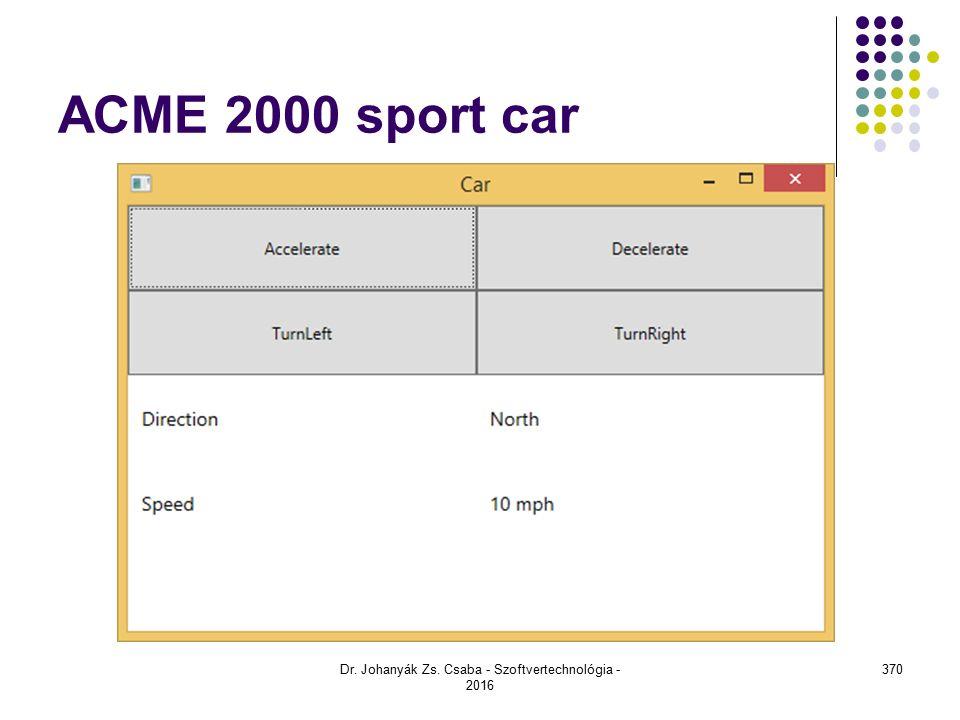ACME 2000 sport car Dr. Johanyák Zs. Csaba - Szoftvertechnológia - 2016 370