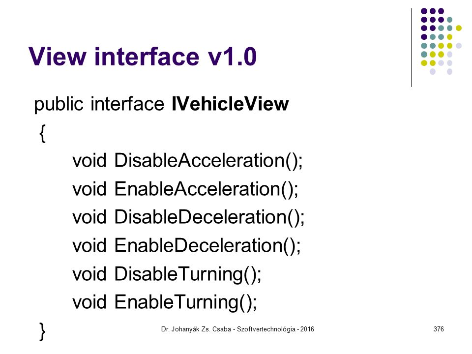 View interface v1.0 public interface IVehicleView { void DisableAcceleration(); void EnableAcceleration(); void DisableDeceleration(); void EnableDeceleration(); void DisableTurning(); void EnableTurning(); } Dr.