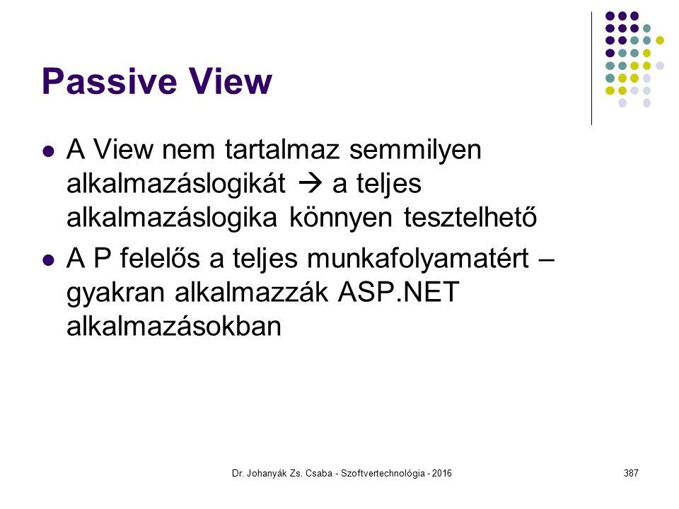 Passive View A View nem tartalmaz semmilyen alkalmazáslogikát  a teljes alkalmazáslogika könnyen tesztelhető A P felelős a teljes munkafolyamatért – gyakran alkalmazzák ASP.NET alkalmazásokban Dr.