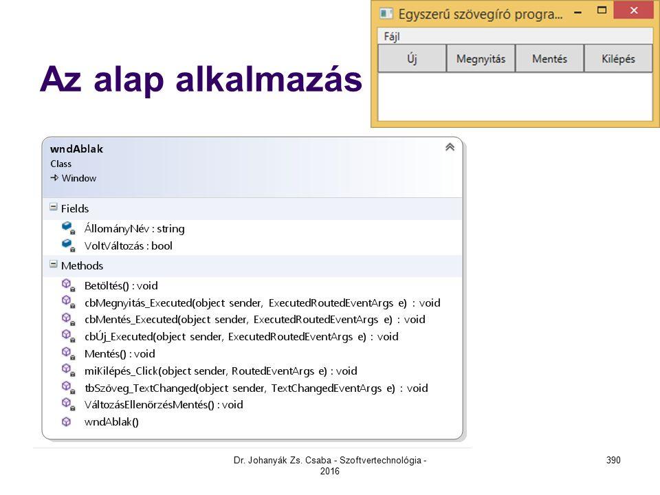 Az alap alkalmazás Dr. Johanyák Zs. Csaba - Szoftvertechnológia - 2016 390