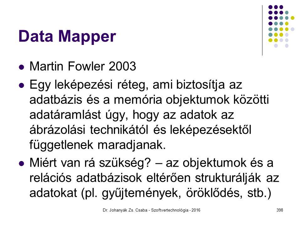 Data Mapper Martin Fowler 2003 Egy leképezési réteg, ami biztosítja az adatbázis és a memória objektumok közötti adatáramlást úgy, hogy az adatok az ábrázolási technikától és leképezésektől függetlenek maradjanak.