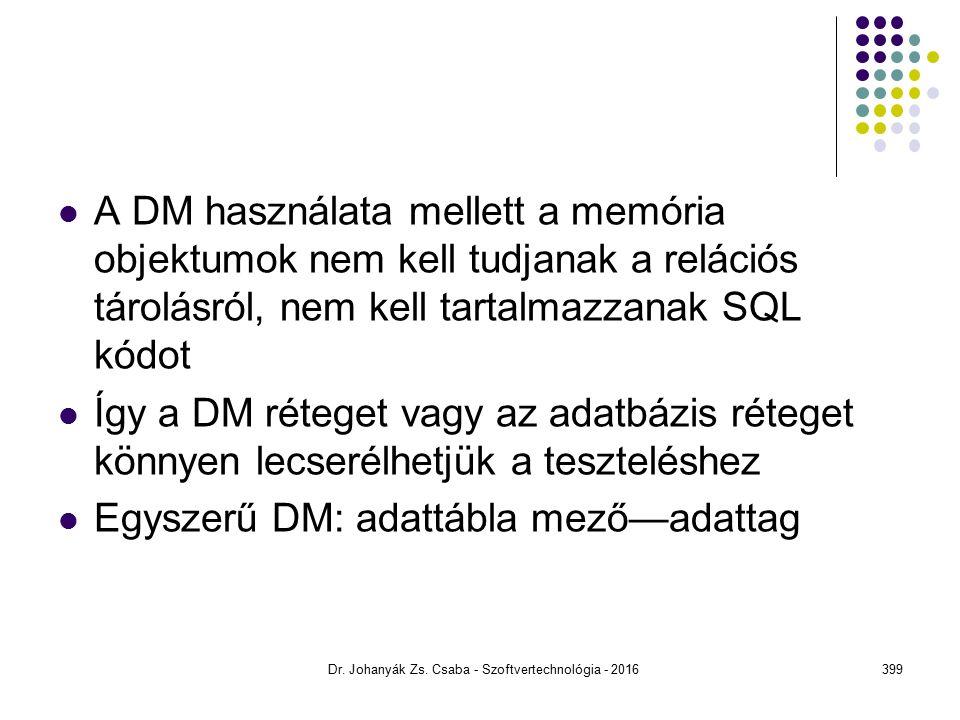 A DM használata mellett a memória objektumok nem kell tudjanak a relációs tárolásról, nem kell tartalmazzanak SQL kódot Így a DM réteget vagy az adatbázis réteget könnyen lecserélhetjük a teszteléshez Egyszerű DM: adattábla mező—adattag Dr.