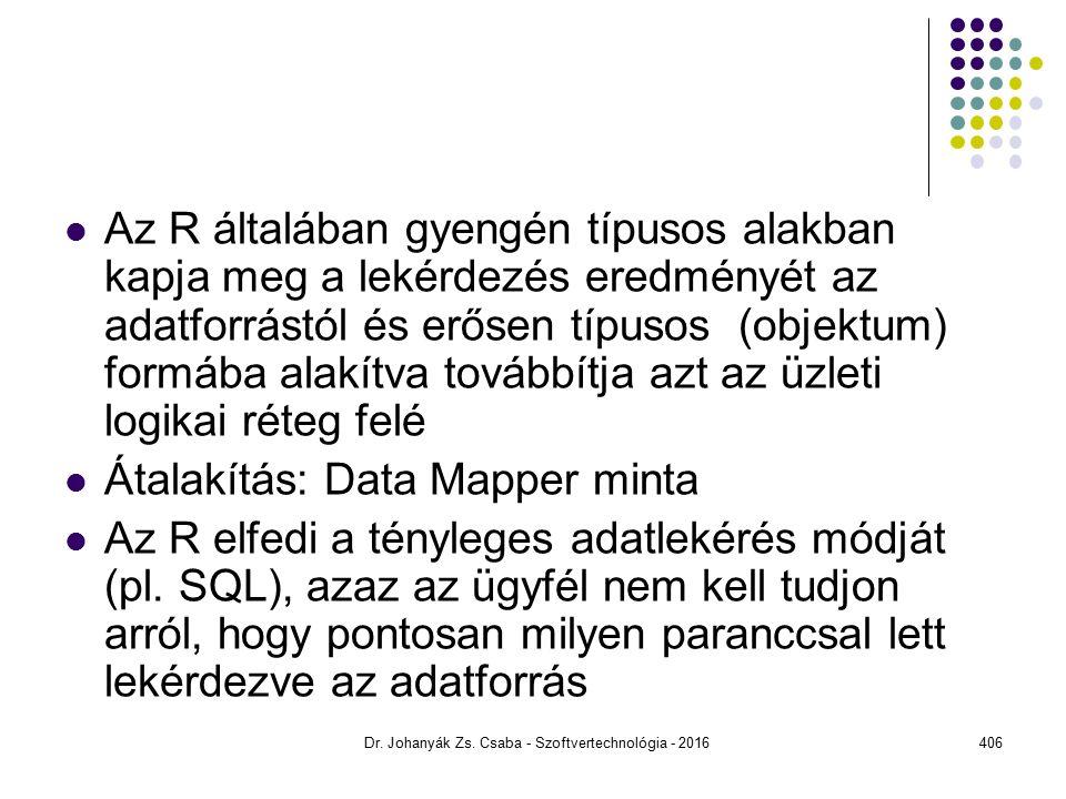 Az R általában gyengén típusos alakban kapja meg a lekérdezés eredményét az adatforrástól és erősen típusos (objektum) formába alakítva továbbítja azt az üzleti logikai réteg felé Átalakítás: Data Mapper minta Az R elfedi a tényleges adatlekérés módját (pl.