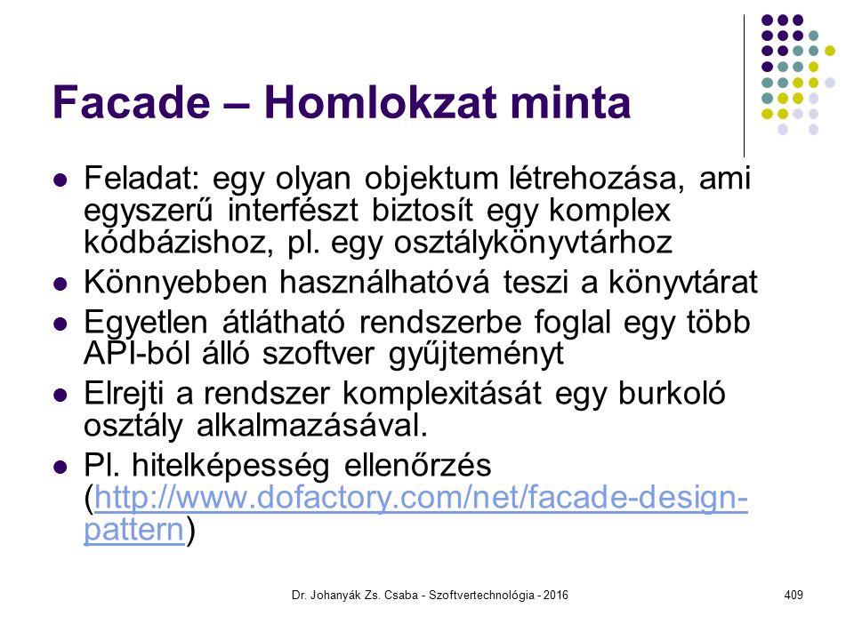 Facade – Homlokzat minta Feladat: egy olyan objektum létrehozása, ami egyszerű interfészt biztosít egy komplex kódbázishoz, pl.