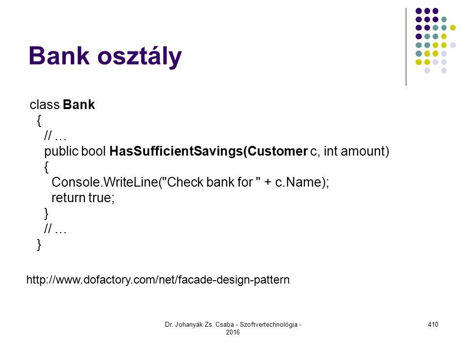 Bank osztály Dr.Johanyák Zs.