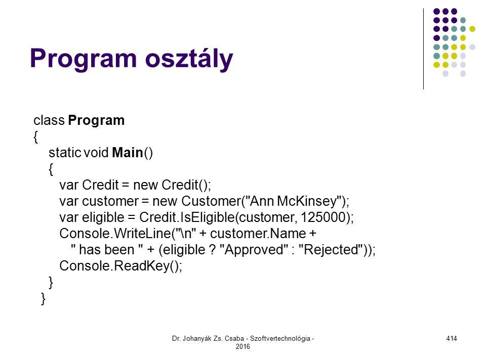 Program osztály Dr.Johanyák Zs.