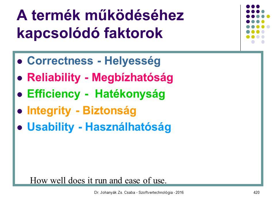 A termék működéséhez kapcsolódó faktorok Correctness - Helyesség Reliability - Megbízhatóság Efficiency - Hatékonyság Integrity - Biztonság Usability - Használhatóság How well does it run and ease of use.