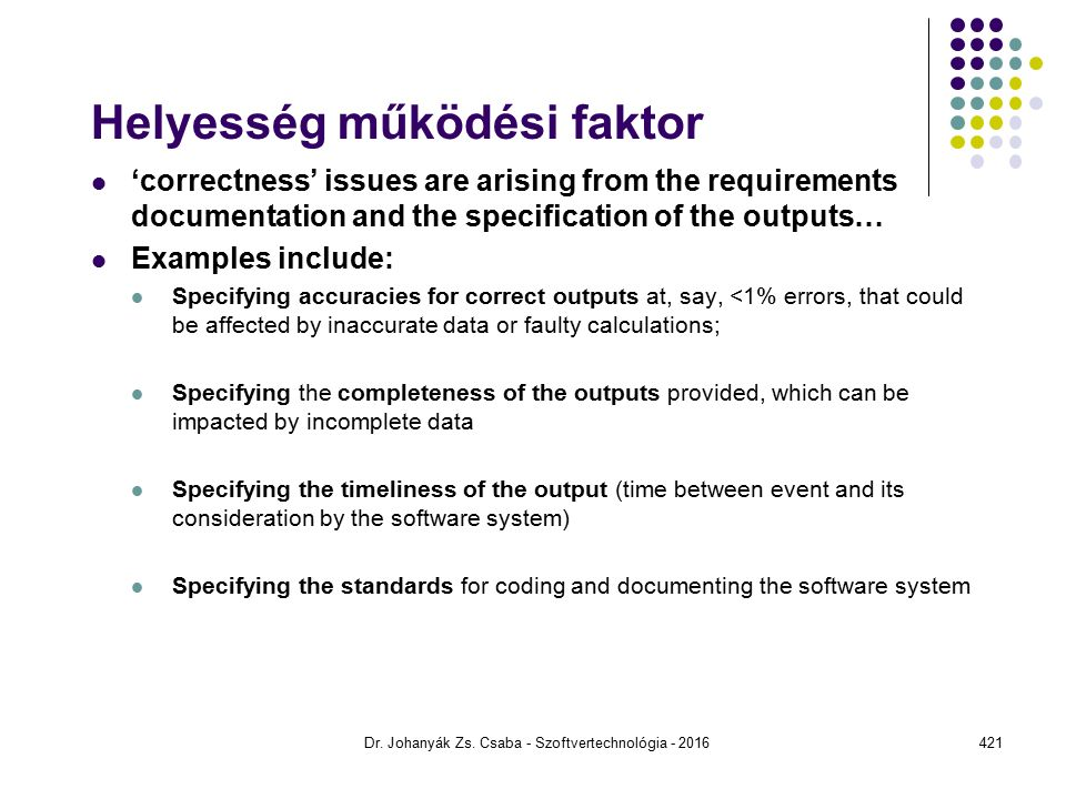 Helyesség működési faktor 'correctness' issues are arising from the requirements documentation and the specification of the outputs… Examples include: