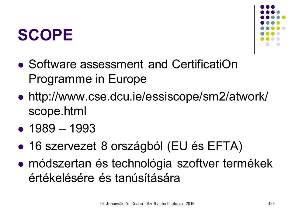 SCOPE Software assessment and CertificatiOn Programme in Europe http://www.cse.dcu.ie/essiscope/sm2/atwork/ scope.html 1989 – 1993 16 szervezet 8 országból (EU és EFTA) módszertan és technológia szoftver termékek értékelésére és tanúsítására Dr.