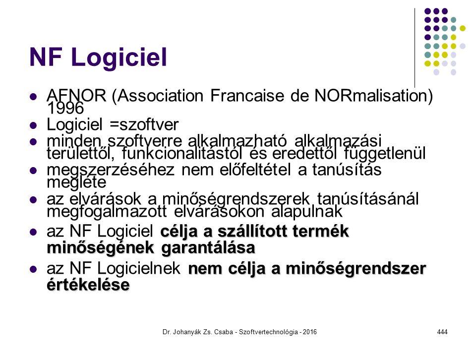 NF Logiciel AFNOR (Association Francaise de NORmalisation) 1996 Logiciel =szoftver minden szoftverre alkalmazható alkalmazási területtől, funkcionalitástól és eredettől függetlenül megszerzéséhez nem előfeltétel a tanúsítás megléte az elvárások a minőségrendszerek tanúsításánál megfogalmazott elvárásokon alapulnak célja a szállított termék minőségének garantálása az NF Logiciel célja a szállított termék minőségének garantálása nem célja a minőségrendszer értékelése az NF Logicielnek nem célja a minőségrendszer értékelése Dr.