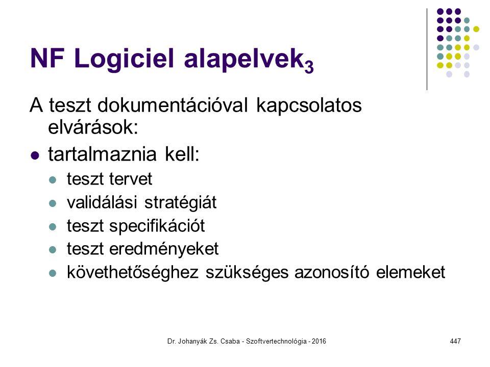 NF Logiciel alapelvek 3 A teszt dokumentációval kapcsolatos elvárások: tartalmaznia kell: teszt tervet validálási stratégiát teszt specifikációt teszt eredményeket követhetőséghez szükséges azonosító elemeket Dr.