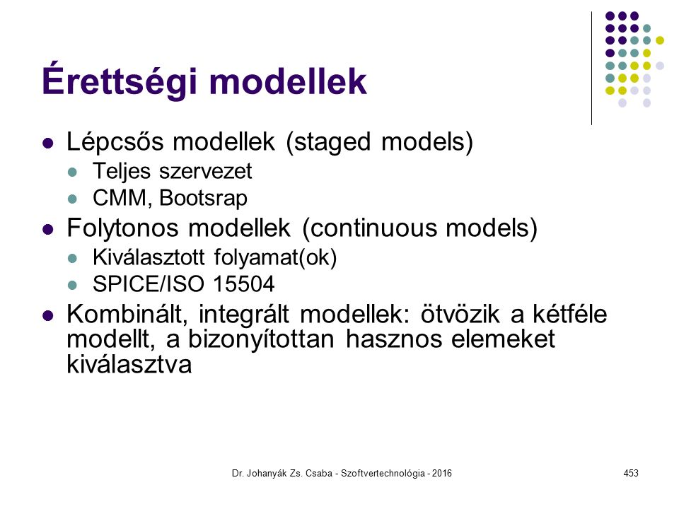 Érettségi modellek Lépcsős modellek (staged models) Teljes szervezet CMM, Bootsrap Folytonos modellek (continuous models) Kiválasztott folyamat(ok) SPICE/ISO 15504 Kombinált, integrált modellek: ötvözik a kétféle modellt, a bizonyítottan hasznos elemeket kiválasztva Dr.