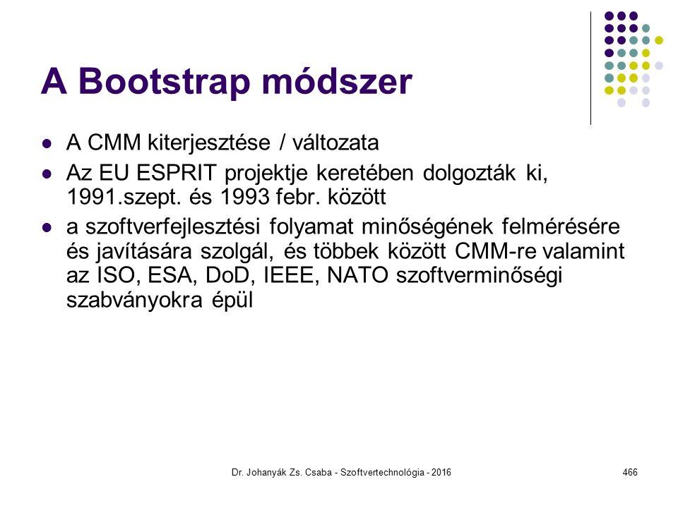 A Bootstrap módszer A CMM kiterjesztése / változata Az EU ESPRIT projektje keretében dolgozták ki, 1991.szept.