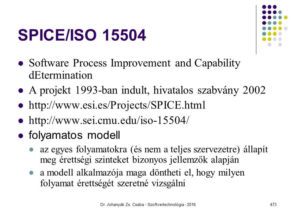 SPICE/ISO 15504 Software Process Improvement and Capability dEtermination A projekt 1993-ban indult, hivatalos szabvány 2002 http://www.esi.es/Projects/SPICE.html http://www.sei.cmu.edu/iso-15504/ folyamatos modell az egyes folyamatokra (és nem a teljes szervezetre) állapít meg érettségi szinteket bizonyos jellemzők alapján a modell alkalmazója maga döntheti el, hogy milyen folyamat érettségét szeretné vizsgálni Dr.