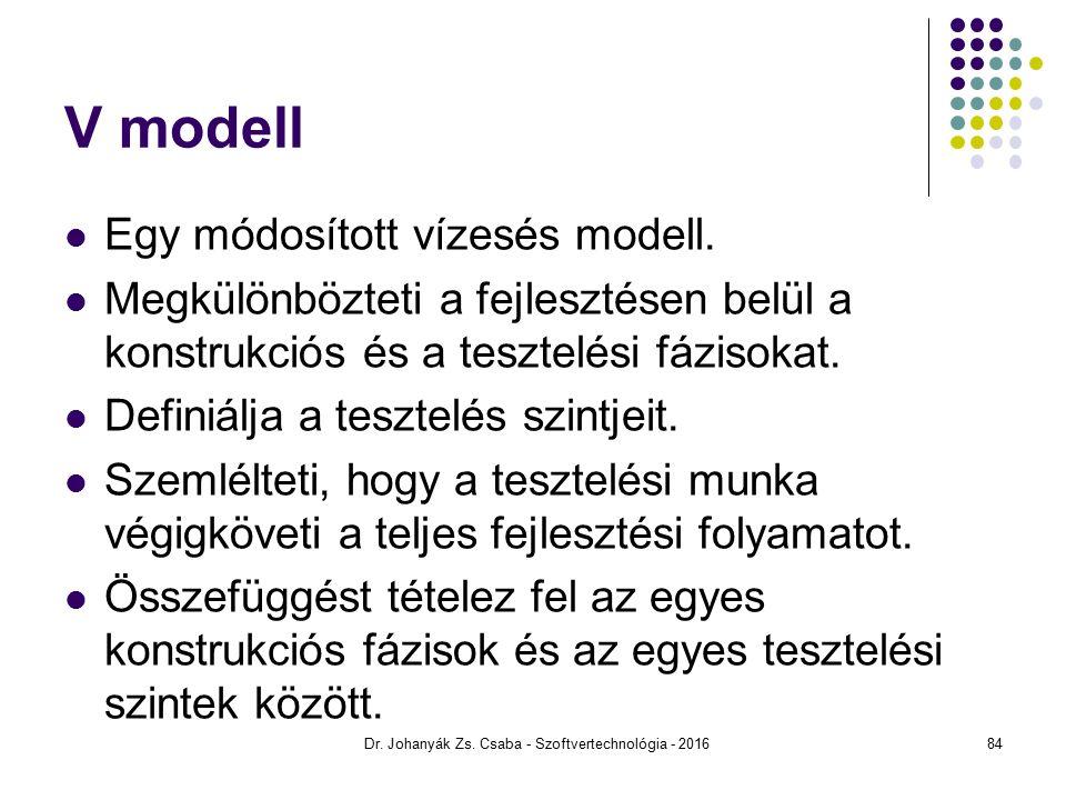 V modell Egy módosított vízesés modell.