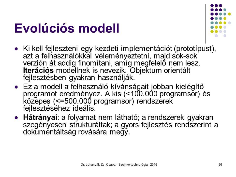 Evolúciós modell Ki kell fejleszteni egy kezdeti implementációt (prototípust), azt a felhasználókkal véleményeztetni, majd sok-sok verzión át addig finomítani, amíg megfelelő nem lesz.