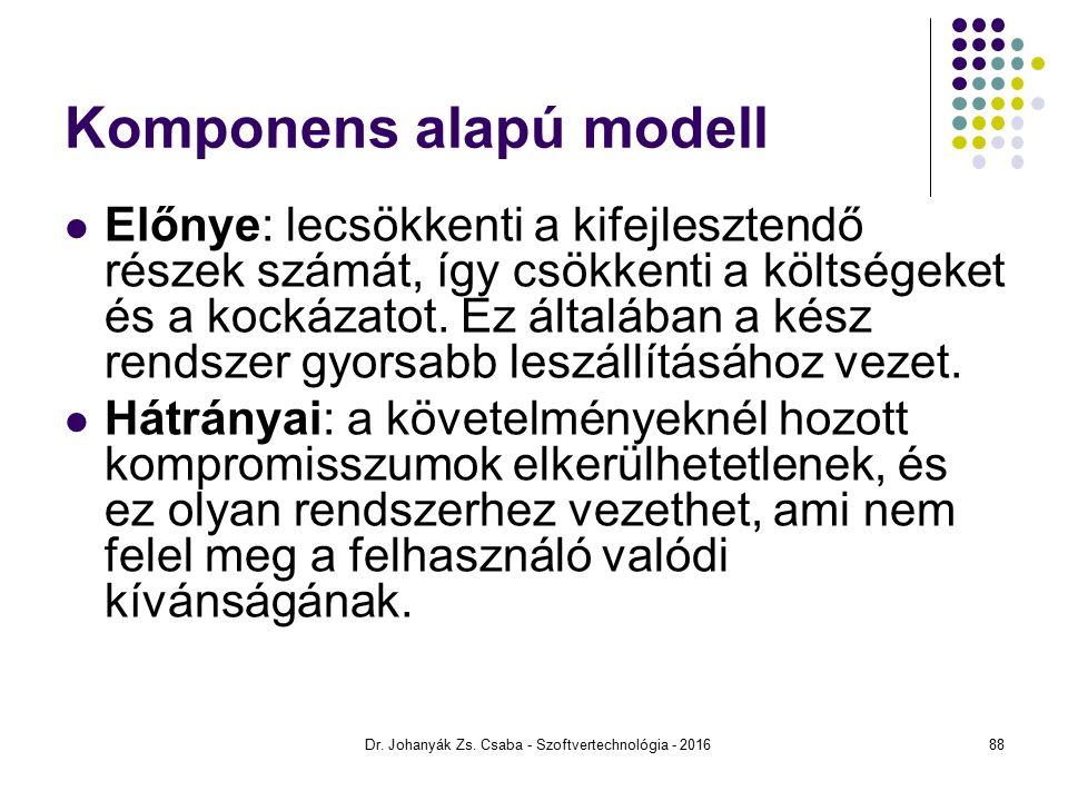 Komponens alapú modell Előnye: lecsökkenti a kifejlesztendő részek számát, így csökkenti a költségeket és a kockázatot.