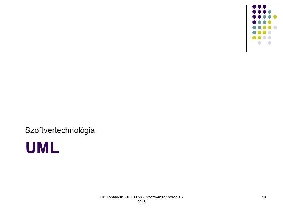 UML Szoftvertechnológia Dr. Johanyák Zs. Csaba - Szoftvertechnológia - 2016 94
