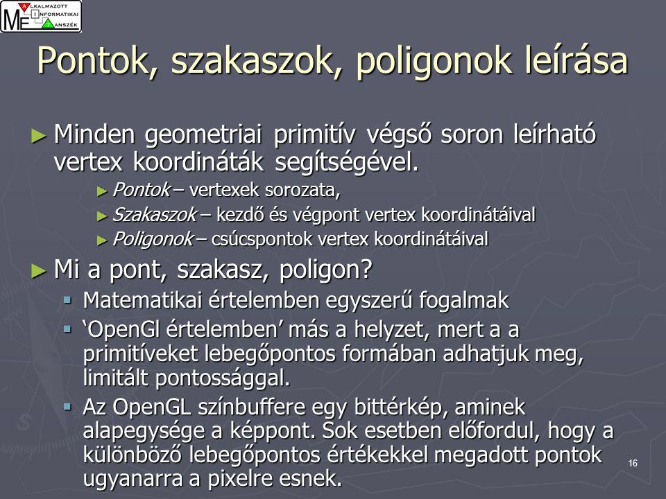16 Pontok, szakaszok, poligonok leírása ► Minden geometriai primitív végső soron leírható vertex koordináták segítségével.