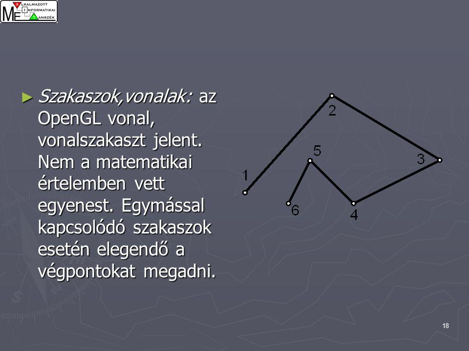 18 ► Szakaszok,vonalak: az OpenGL vonal, vonalszakaszt jelent.