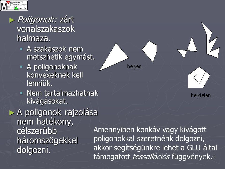19 ► Poligonok: zárt vonalszakaszok halmaza.  A szakaszok nem metszhetik egymást.
