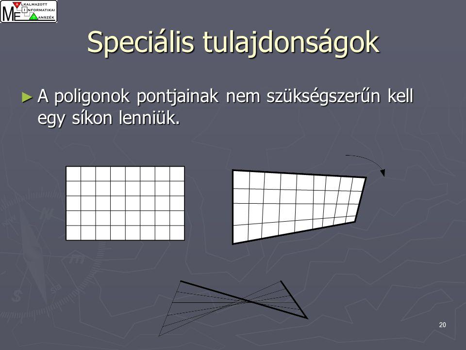 20 Speciális tulajdonságok ► A poligonok pontjainak nem szükségszerűn kell egy síkon lenniük.