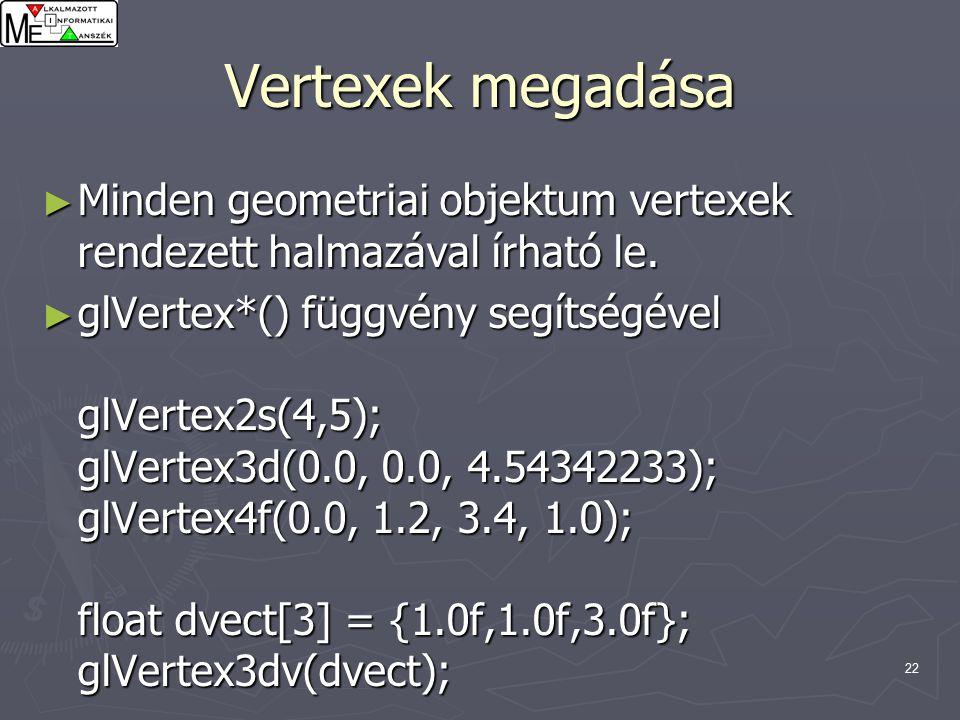 22 Vertexek megadása ► Minden geometriai objektum vertexek rendezett halmazával írható le.