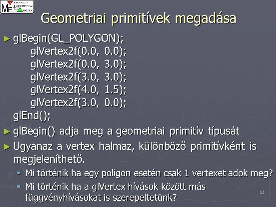 23 Geometriai primitívek megadása ► glBegin(GL_POLYGON); glVertex2f(0.0, 0.0); glVertex2f(0.0, 3.0); glVertex2f(3.0, 3.0); glVertex2f(4.0, 1.5); glVertex2f(3.0, 0.0); glEnd(); ► glBegin() adja meg a geometriai primitív típusát ► Ugyanaz a vertex halmaz, különböző primitívként is megjeleníthető.