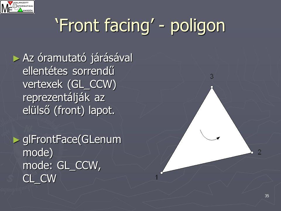 35 'Front facing' - poligon ► Az óramutató járásával ellentétes sorrendű vertexek (GL_CCW) reprezentálják az elülső (front) lapot.