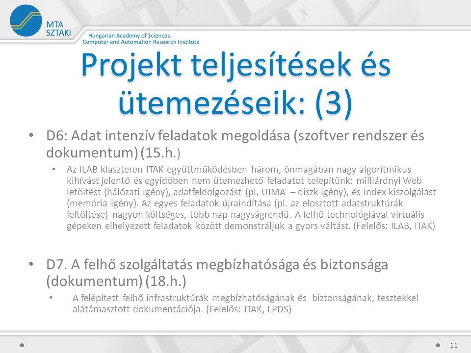 Projekt teljesítések és ütemezéseik: (3) D6: Adat intenzív feladatok megoldása (szoftver rendszer és dokumentum) (15.h.) Az ILAB klaszteren ITAK együttműködésben három, önmagában nagy algoritmikus kihívást jelentő és egyidőben nem ütemezhető feladatot telepítünk: milliárdnyi Web letöltést (hálózati igény), adatfeldolgozást (pl.