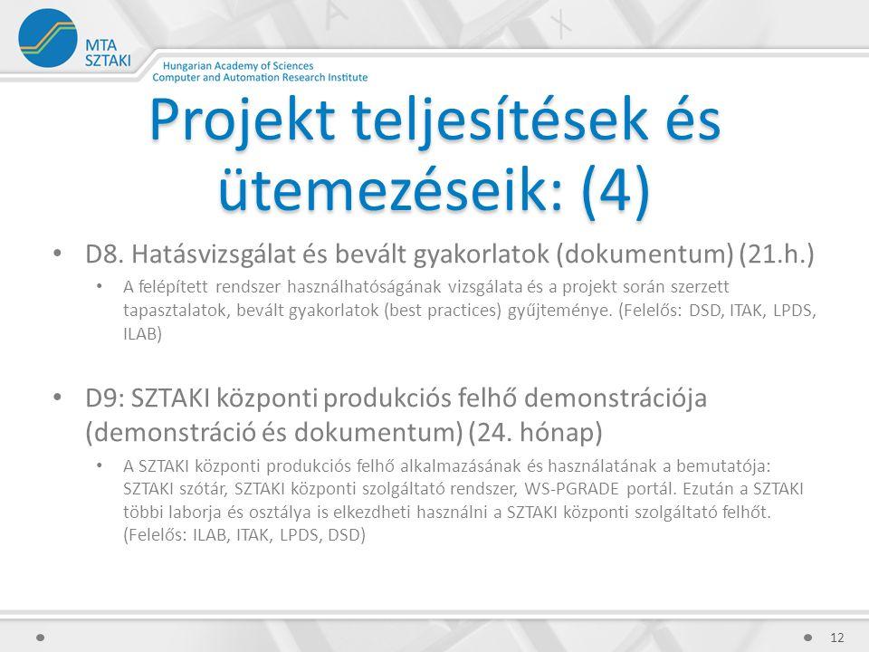 Projekt teljesítések és ütemezéseik: (4) D8.