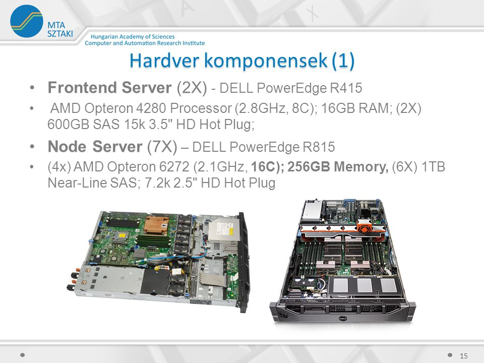 Hardver komponensek (1) Frontend Server (2X) - DELL PowerEdge R415 AMD Opteron 4280 Processor (2.8GHz, 8C); 16GB RAM; (2X) 600GB SAS 15k 3.5 HD Hot Plug; Node Server (7X) – DELL PowerEdge R815 (4x) AMD Opteron 6272 (2.1GHz, 16C); 256GB Memory, (6X) 1TB Near-Line SAS; 7.2k 2.5 HD Hot Plug 15