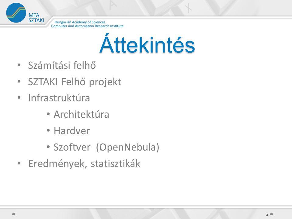 Áttekintés Számítási felhő SZTAKI Felhő projekt Infrastruktúra Architektúra Hardver Szoftver (OpenNebula) Eredmények, statisztikák 2