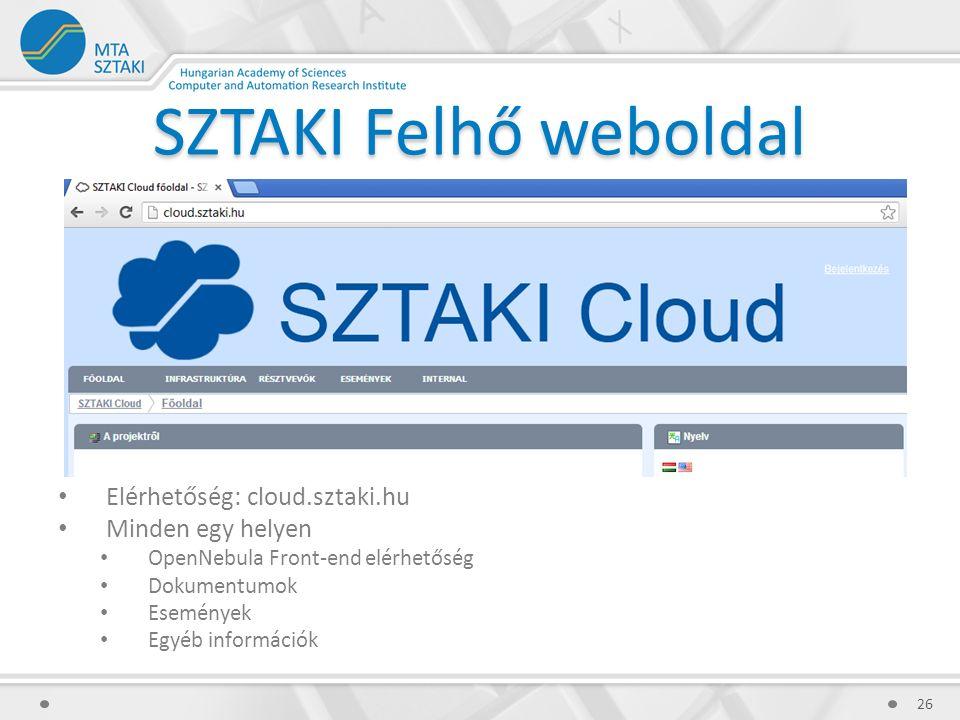 SZTAKI Felhő weboldal Elérhetőség: cloud.sztaki.hu Minden egy helyen OpenNebula Front-end elérhetőség Dokumentumok Események Egyéb információk 26