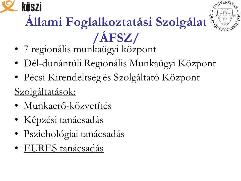 Állami Foglalkoztatási Szolgálat /ÁFSZ/ 7 regionális munkaügyi központ Dél-dunántúli Regionális Munkaügyi Központ Pécsi Kirendeltség és Szolgáltató Központ Szolgáltatások: Munkaerő-közvetítés Képzési tanácsadás Pszichológiai tanácsadás EURES tanácsadás