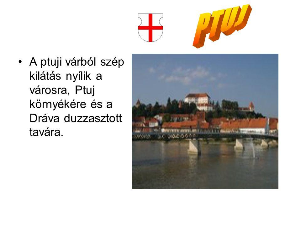 A ptuji várból szép kilátás nyílik a városra, Ptuj környékére és a Dráva duzzasztott tavára.