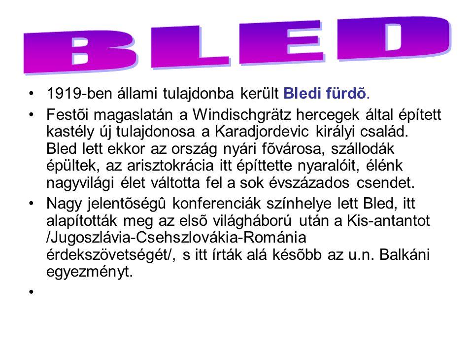 1919-ben állami tulajdonba került Bledi fürdõ.