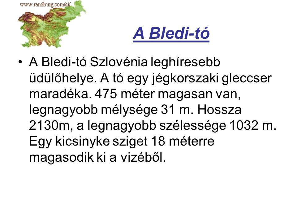 A Bledi-tó Szlovénia leghíresebb üdülőhelye. A tó egy jégkorszaki gleccser maradéka. 475 méter magasan van, legnagyobb mélysége 31 m. Hossza 2130m, a