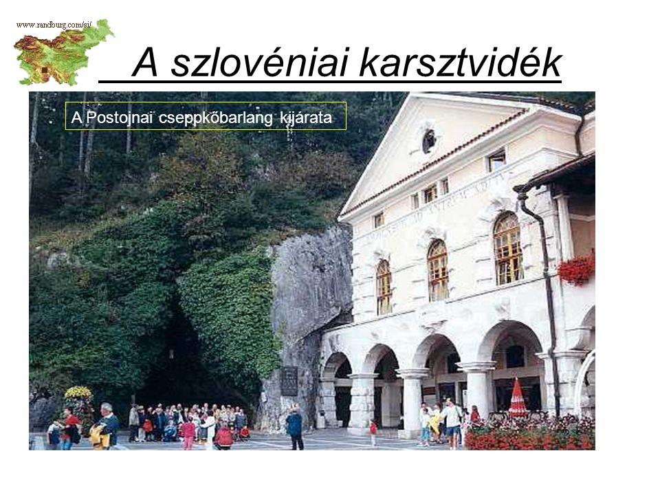 A szlovéniai karsztvidék A Postojnai cseppkőbarlang kijárata