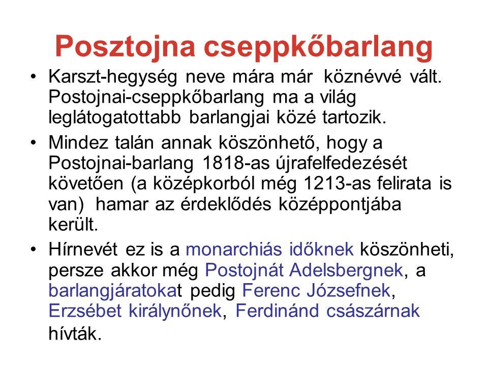 Posztojna cseppkőbarlang Karszt-hegység neve mára már köznévvé vált. Postojnai-cseppkőbarlang ma a világ leglátogatottabb barlangjai közé tartozik. Mi