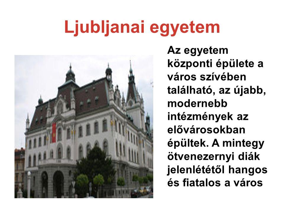 Ljubljanai egyetem Az egyetem központi épülete a város szívében található, az újabb, modernebb intézmények az elővárosokban épültek.