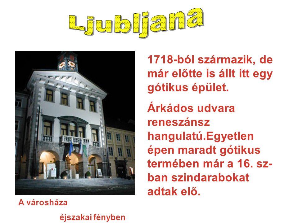 A városháza éjszakai fényben 1718-ból származik, de már előtte is állt itt egy gótikus épület.