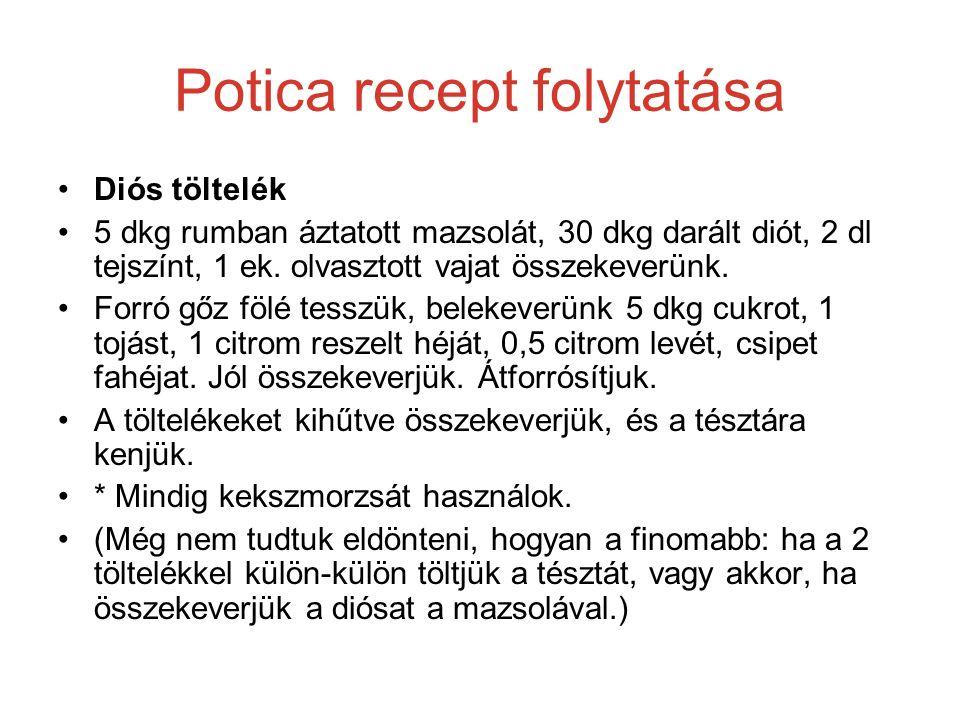 Potica recept folytatása Diós töltelék 5 dkg rumban áztatott mazsolát, 30 dkg darált diót, 2 dl tejszínt, 1 ek. olvasztott vajat összekeverünk. Forró