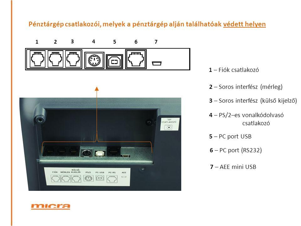 12 34 567 Pénztárgép csatlakozói, melyek a pénztárgép alján találhatóak védett helyen 6 – PC port (RS232) 3 – Soros interfész (külső kijelző) 4 – PS/2–es vonalkódolvasó csatlakozó 1 – Fiók csatlakozó 7 – AEE mini USB 2 – Soros interfész (mérleg) 5 – PC port USB