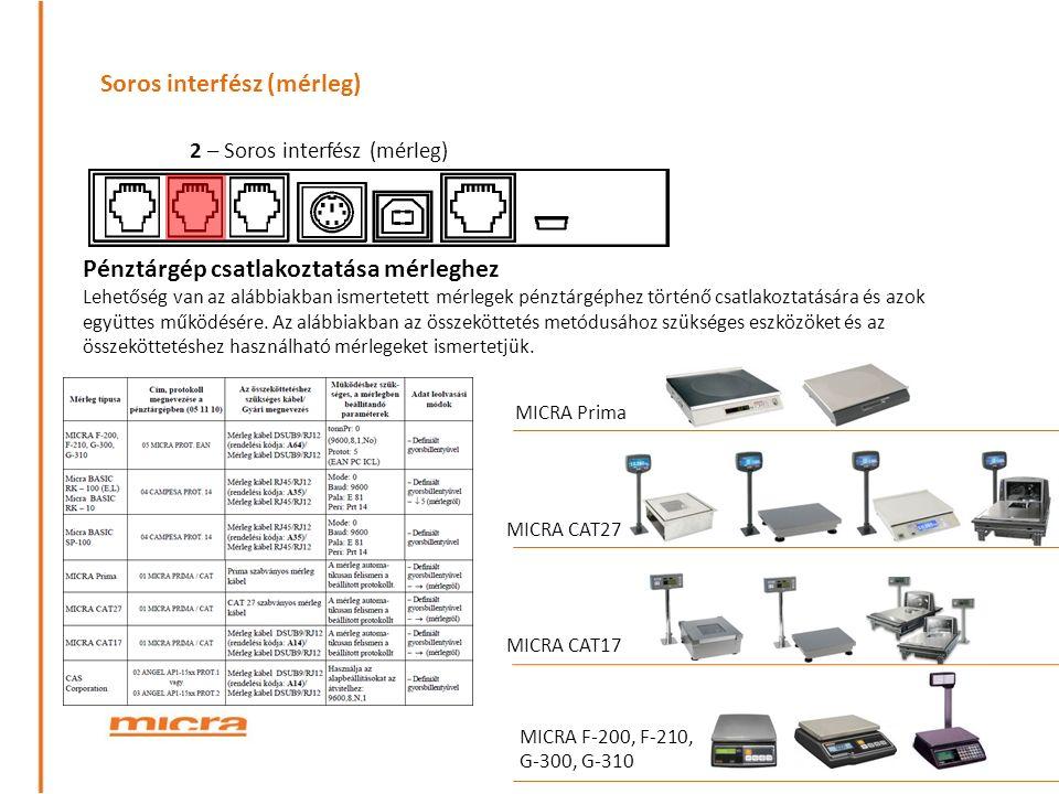 Soros interfész (mérleg) Pénztárgép csatlakoztatása mérleghez Lehetőség van az alábbiakban ismertetett mérlegek pénztárgéphez történő csatlakoztatására és azok együttes működésére.