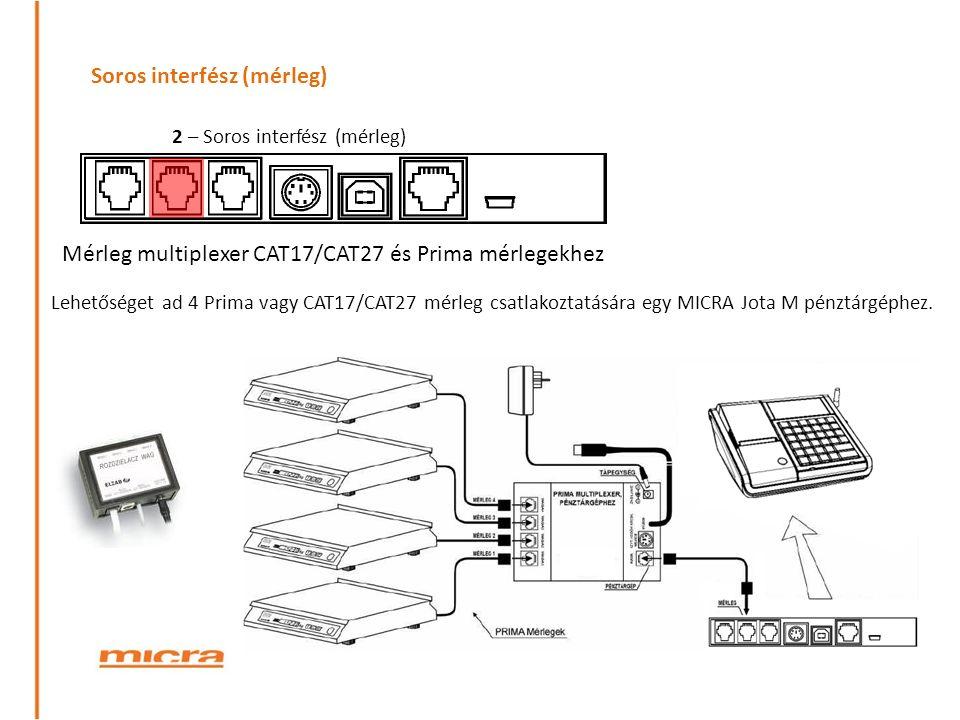 Soros interfész (mérleg) 2 – Soros interfész (mérleg) Mérleg multiplexer CAT17/CAT27 és Prima mérlegekhez Lehetőséget ad 4 Prima vagy CAT17/CAT27 mérleg csatlakoztatására egy MICRA Jota M pénztárgéphez.