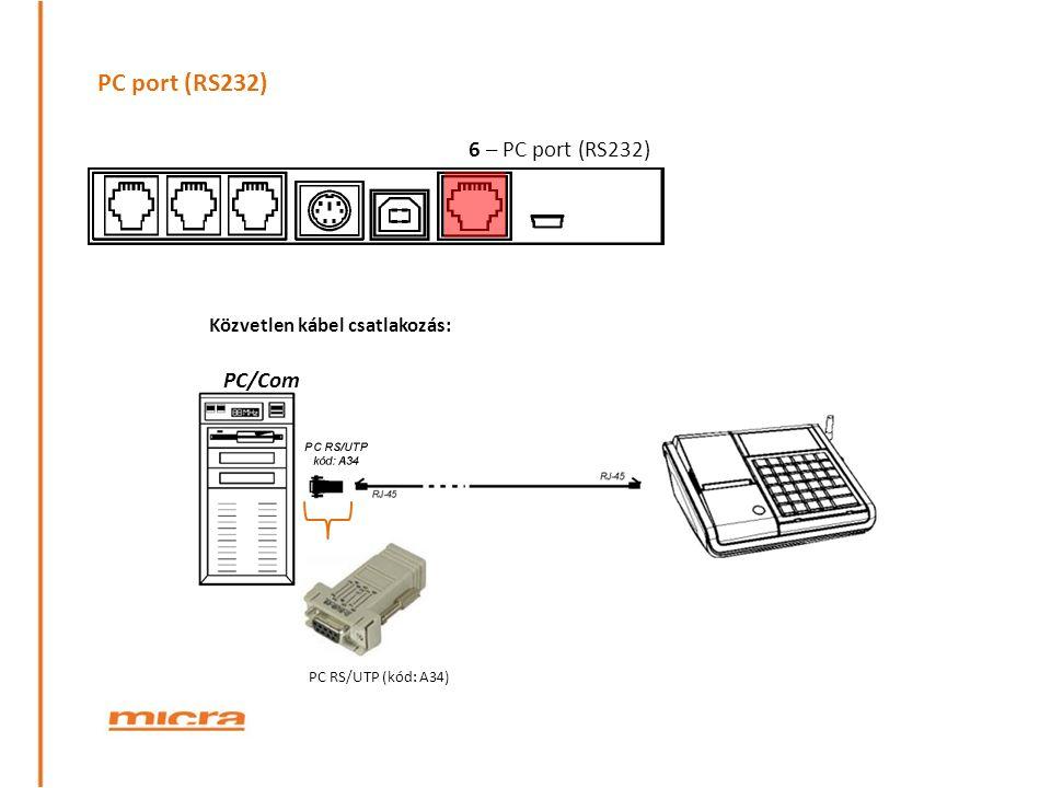 PC port (RS232) PC/Com PC RS/UTP (kód: A34) Közvetlen kábel csatlakozás: 6 – PC port (RS232)